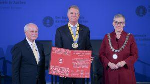 Klaus Iohannis, la decernarea premiului internațional Carol cel Mare al orașului Aachen - Pentru unitatea Europei. Foto: presidency.ro